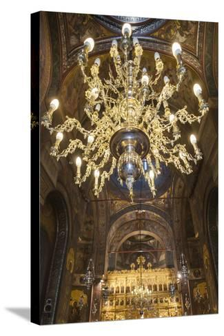 Romania, Bucharest, Romanian Patriarchal Cathedral, Interior-Walter Bibikow-Stretched Canvas Print