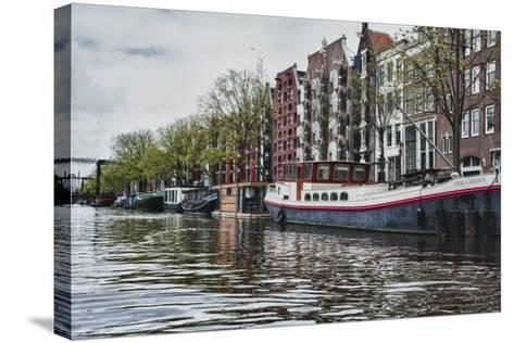 Historic Houses and Boats Along a Canal, Netherlands-Sheila Haddad-Stretched Canvas Print