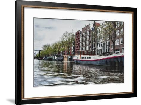 Historic Houses and Boats Along a Canal, Netherlands-Sheila Haddad-Framed Art Print