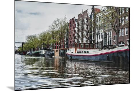 Historic Houses and Boats Along a Canal, Netherlands-Sheila Haddad-Mounted Photographic Print