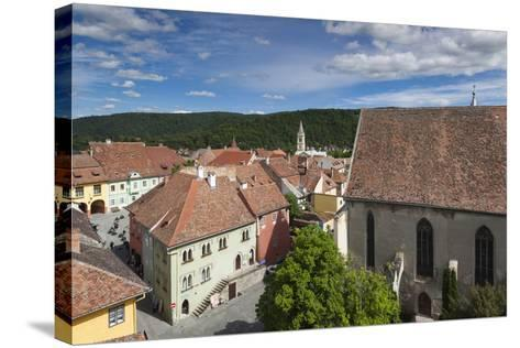 Romania, Transylvania, Sighisoara, Elevated View of Square-Walter Bibikow-Stretched Canvas Print