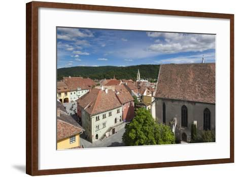 Romania, Transylvania, Sighisoara, Elevated View of Square-Walter Bibikow-Framed Art Print