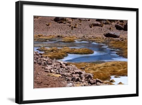 Winding Partially Frozen Water Near the Saciel Sulfur Refinery, Chile-Mallorie Ostrowitz-Framed Art Print