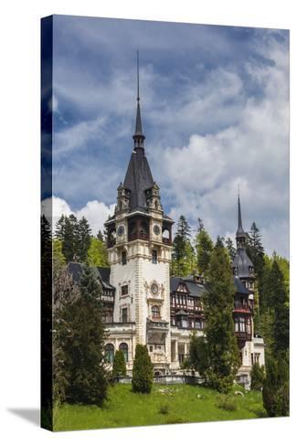 Romania, Transylvania, Sinaia, Peles Castle, Built 1875-1914-Walter Bibikow-Stretched Canvas Print