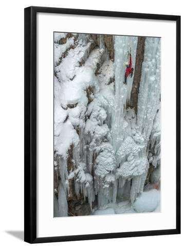 Ice Climber Ascending at Ouray Ice Park, Colorado-Howie Garber-Framed Art Print