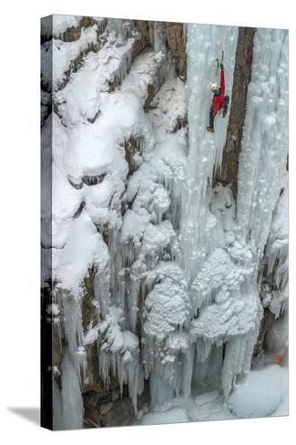Ice Climber Ascending at Ouray Ice Park, Colorado-Howie Garber-Stretched Canvas Print