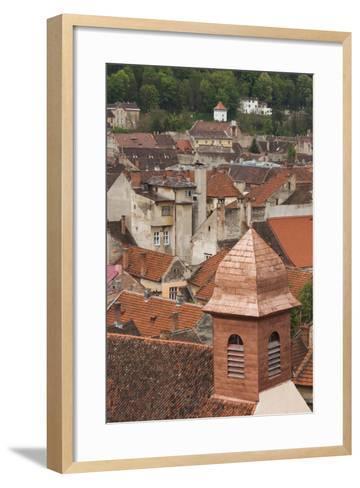 Romania, Transylvania, Brasov, Elevated View of Town Buildings-Walter Bibikow-Framed Art Print
