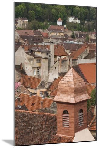 Romania, Transylvania, Brasov, Elevated View of Town Buildings-Walter Bibikow-Mounted Photographic Print