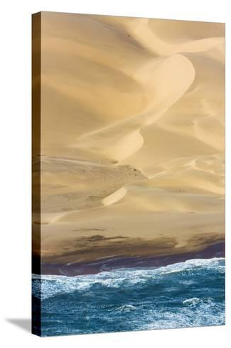 Namibia. Aerial of Namibian Sand Dunes Meeting the Atlantic Ocean-Janet Muir-Stretched Canvas Print