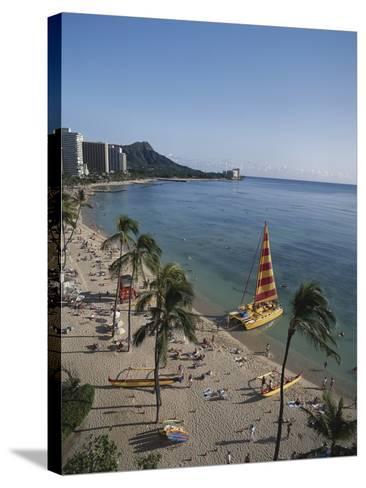 Hawaii Islands, Oahu, Waikiki, View of Waikiki Beach-Douglas Peebles-Stretched Canvas Print
