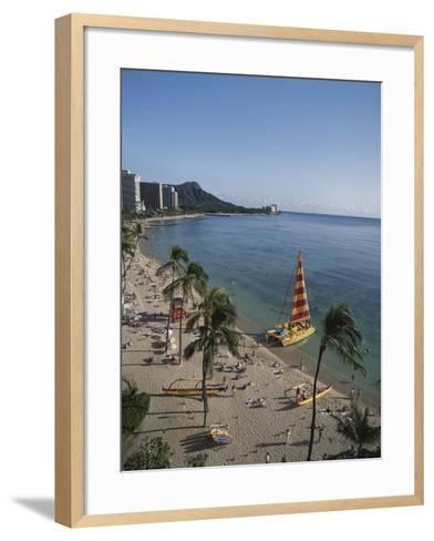 Hawaii Islands, Oahu, Waikiki, View of Waikiki Beach-Douglas Peebles-Framed Art Print