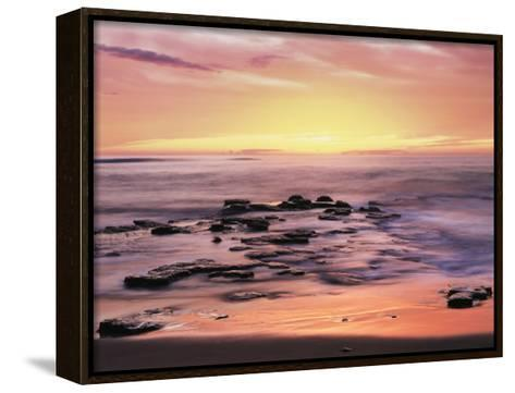 California, San Diego. Sunset Cliffs Tide Pools Reflecting the Sunset-Christopher Talbot Frank-Framed Canvas Print