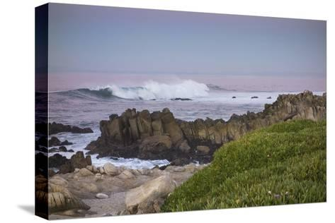 Crashing Waves at Sunset Along Pacific Ocean, Monterey, Peninsula, CA-Sheila Haddad-Stretched Canvas Print