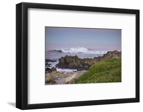 Crashing Waves at Sunset Along Pacific Ocean, Monterey, Peninsula, CA-Sheila Haddad-Framed Art Print