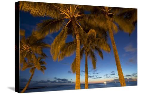Twilight, Waikiki, Honolulu, Oahu, Hawaii-Douglas Peebles-Stretched Canvas Print