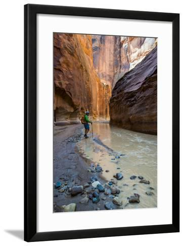 Howie Hiking in the Paria Canyon, Vermillion Cliffs Wilderness, Utah-Howie Garber-Framed Art Print