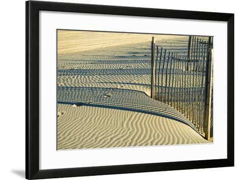 North Carolina. Dune Fence, Light, Shadow and Ripples in the Sand-Rona Schwarz-Framed Art Print