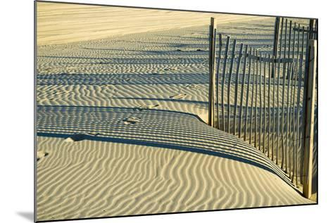 North Carolina. Dune Fence, Light, Shadow and Ripples in the Sand-Rona Schwarz-Mounted Photographic Print