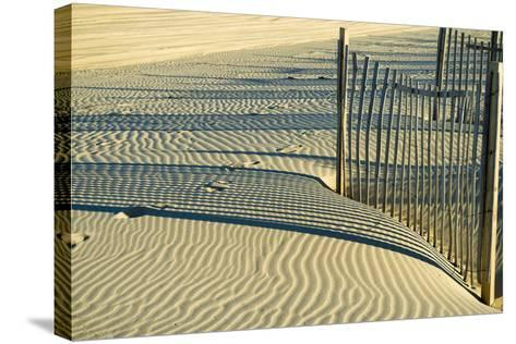 North Carolina. Dune Fence, Light, Shadow and Ripples in the Sand-Rona Schwarz-Stretched Canvas Print