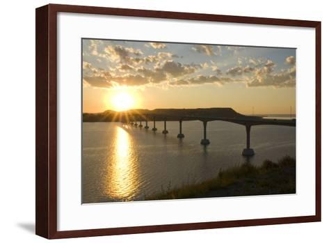 Four Bears Bridge Stretches across the Missouri River, North Dakota-Angel Wynn-Framed Art Print