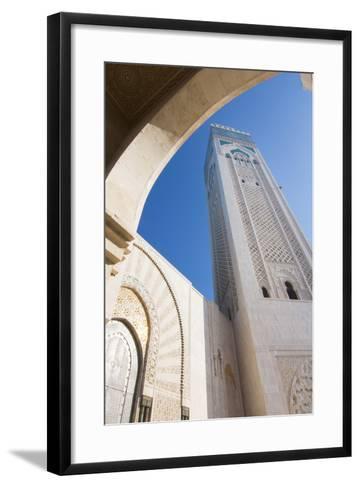 Casablanca, Morocco Exterior, Famous Hassan II Mosque-Bill Bachmann-Framed Art Print