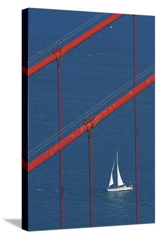 California, San Francisco, Golden Gate Bridge and Yacht-David Wall-Stretched Canvas Print