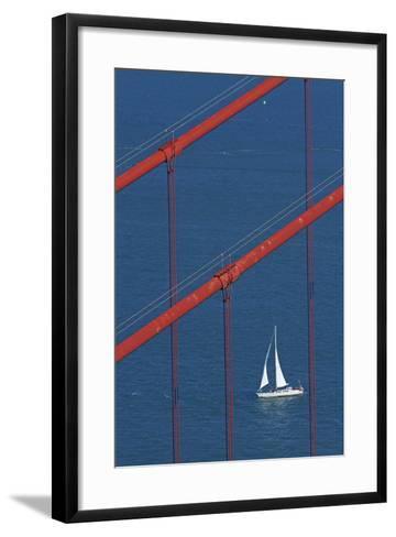 California, San Francisco, Golden Gate Bridge and Yacht-David Wall-Framed Art Print