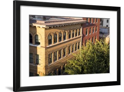 Oregon, Portland. Building Details in Downtown-Brent Bergherm-Framed Art Print