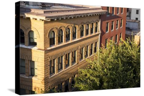 Oregon, Portland. Building Details in Downtown-Brent Bergherm-Stretched Canvas Print
