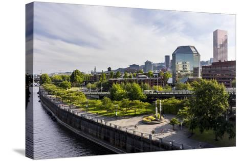 Oregon, Portland. Downtown with Waterfront Park from the Steel Bridge-Brent Bergherm-Stretched Canvas Print