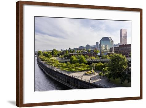 Oregon, Portland. Downtown with Waterfront Park from the Steel Bridge-Brent Bergherm-Framed Art Print