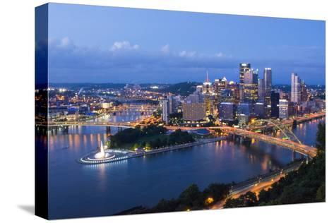 Pittsburgh, Pennsylvania, Skyline from Mt Washington of Downtown City-Bill Bachmann-Stretched Canvas Print