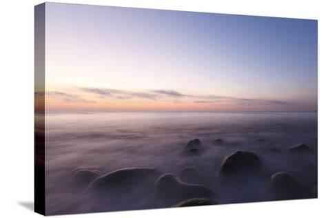 Waves Wash over the Rocks at Rye Harbor SP in Rye, New Hampshire-Jerry & Marcy Monkman-Stretched Canvas Print