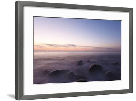 Waves Wash over the Rocks at Rye Harbor SP in Rye, New Hampshire-Jerry & Marcy Monkman-Framed Art Print