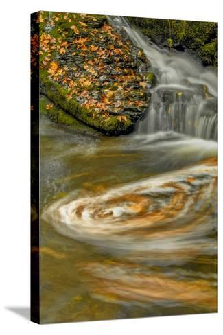 Pennsylvania, Delaware Water Gap NRA. Waterfall and Swirling Pool-Jay O'brien-Stretched Canvas Print