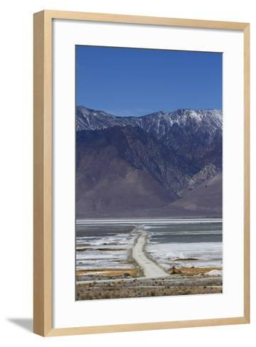 Road across Owens Lake and Sierra Nevada Mountains, California-David Wall-Framed Art Print
