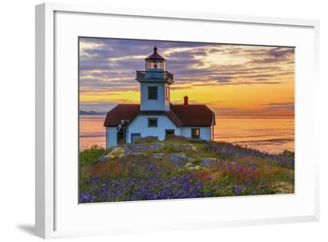 Washington, San Juan Islands. Patos Lighthouse and Camas at Sunset-Don Paulson-Framed Art Print