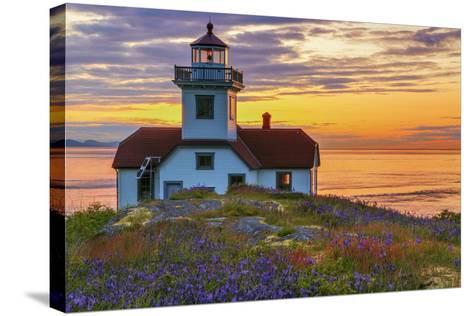Washington, San Juan Islands. Patos Lighthouse and Camas at Sunset-Don Paulson-Stretched Canvas Print