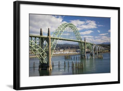 Yaquina Bay Bridge over the Harbor and Marina at Newport, Oregon, USA-Brian Jannsen-Framed Art Print