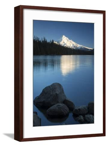Mt Hood Rises Above Lost Lake, Cascade Mountains, Oregon, USA-Brian Jannsen-Framed Art Print