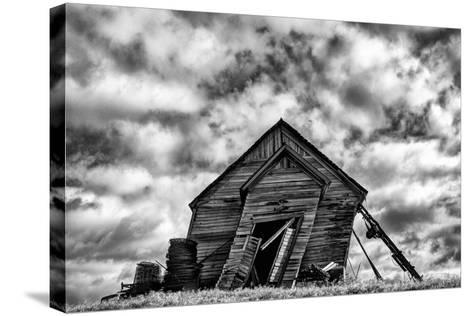 Washington. Abandoned Leaning Schoolhouse in Palouse Farm Country-Dennis Flaherty-Stretched Canvas Print