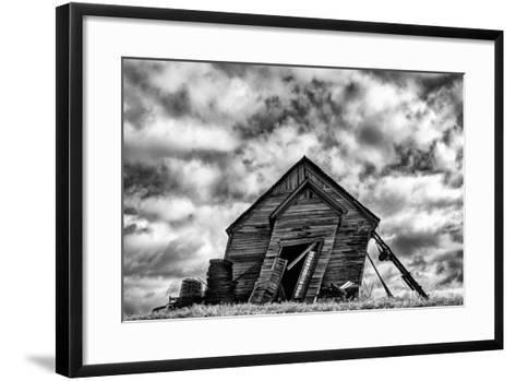 Washington. Abandoned Leaning Schoolhouse in Palouse Farm Country-Dennis Flaherty-Framed Art Print