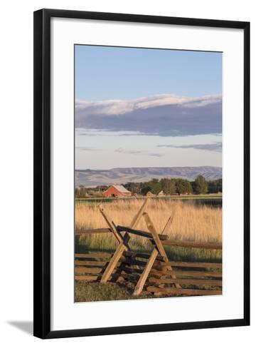 Washington, Walla Walla Co, Whitman Mission Nhs, Oregon Trail Fence-Brent Bergherm-Framed Art Print