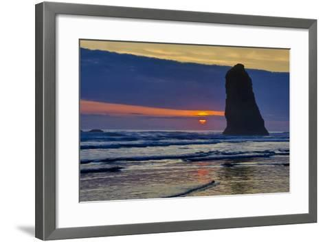 USA, Oregon, Cannon Beach. Sunset on Lone Seastack-Jean Carter-Framed Art Print