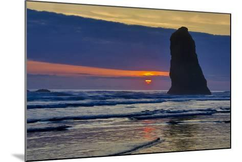 USA, Oregon, Cannon Beach. Sunset on Lone Seastack-Jean Carter-Mounted Photographic Print