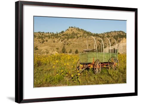 USA, South Dakota, Wild Horse Sanctuary. Scenic with Vintage Wagon-Cathy & Gordon Illg-Framed Art Print