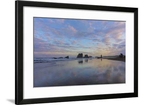Clouds Reflect in Wet Sand at Sunrise at Bandon Beach, Bandon, Oregon-Chuck Haney-Framed Art Print