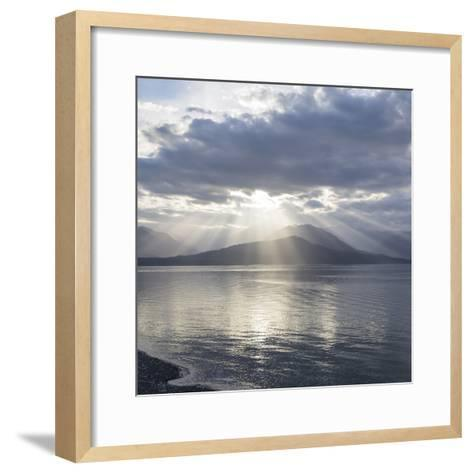 Washington State, Seabeck. Composite of God Rays over Hood Canal-Don Paulson-Framed Art Print