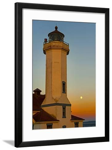 Washington, Port Townsend. Super Moon over the Point Wilson Lighthouse-Richard Duval-Framed Art Print