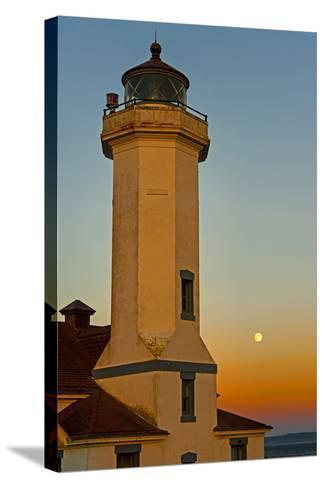 Washington, Port Townsend. Super Moon over the Point Wilson Lighthouse-Richard Duval-Stretched Canvas Print